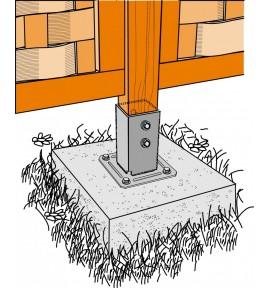 Pied de poteau carré 7x7 sur platine