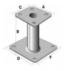 Pied de poteau élévateur 100 mm PPA100