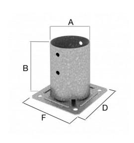 Pied de poteau rond à boulonner Ø 80 mm