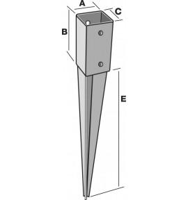 Pied de poteau carré 7x7 à enfoncer PPJET70/750