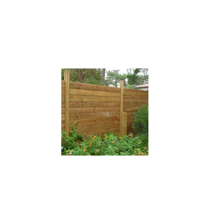Kit clôture bois 20 ml en en pin teinté marron